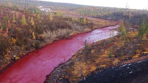 река Далдыкан внезапно поменяла цвет на красный