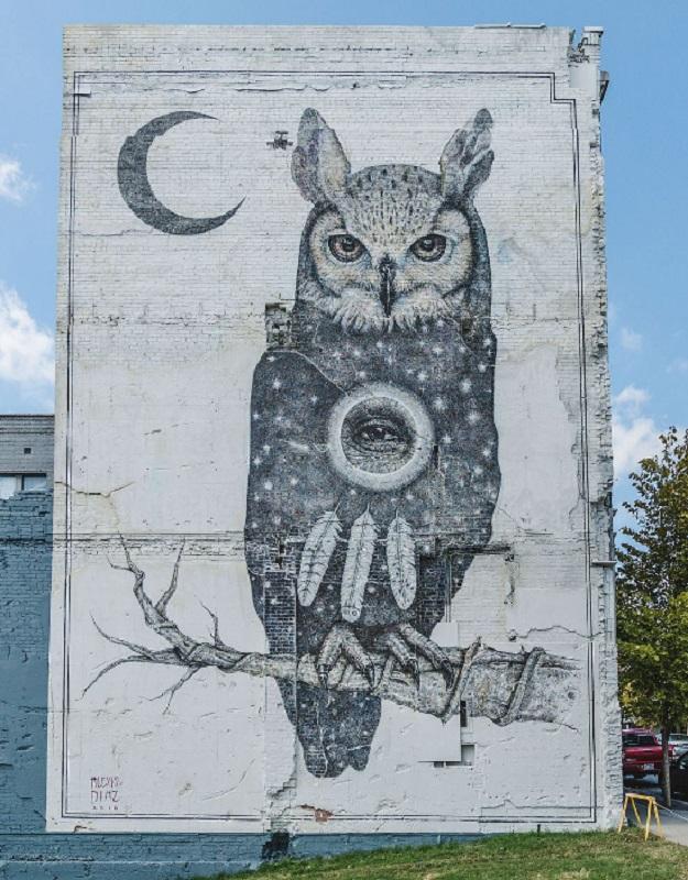 Рисунок на стене Сова