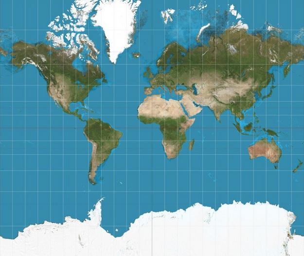 Карта мира, цилиндрическая проекция Миллера