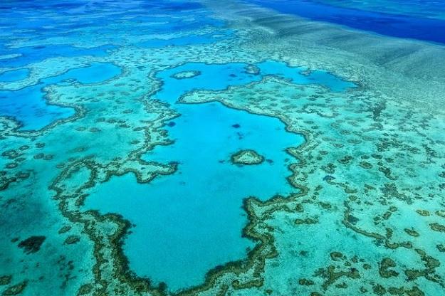 Великолепный вид с воздуха на большой Барьерный Риф Австралии.