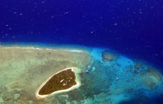 Коралловый риф, окружающий зеленый остров