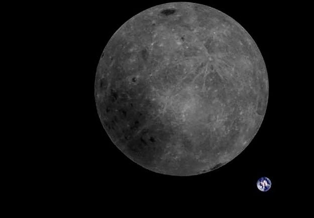 Фото Земли и дальней стороны Луны было сделано камерой с китайского спутника Longjiang-2.
